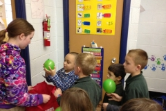 The Service Learning Club volunteers in the kindergarten classes